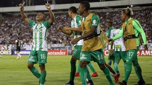Vladimir Hernáneez celebra su gol con sus compañeros.