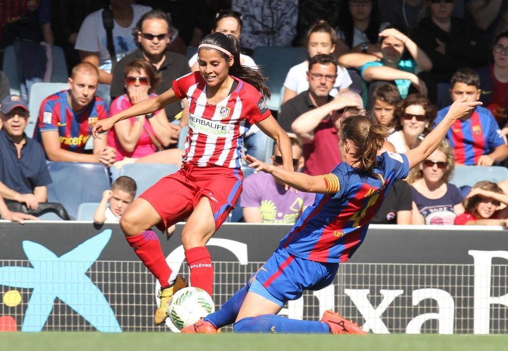 Lance del partido entre Barcelona y Atlético de Madrid el curso...