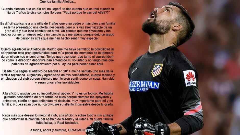 Atlético de Madrid: Carta de despedida de Moyá: \