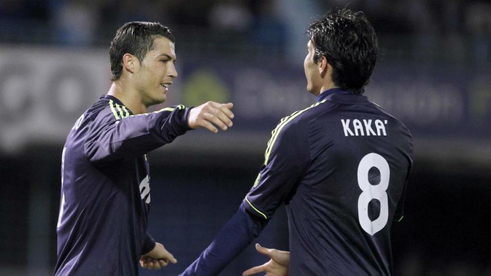 Kaká y Cristiano celebran un gol