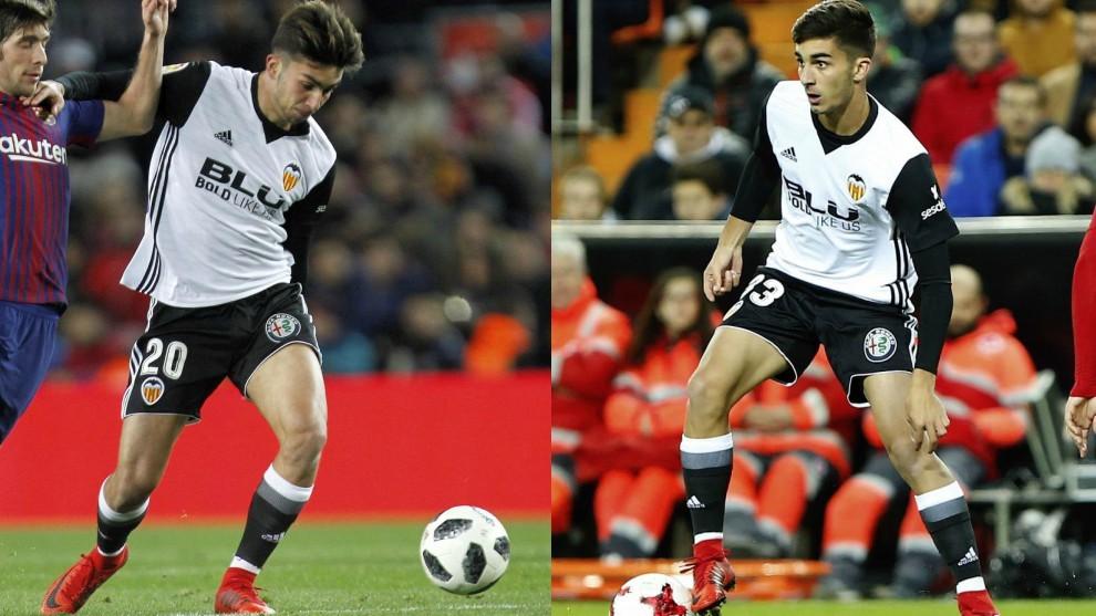 A la derecha, Ferran Torres en el partido Copa contra el Barcelona; a...
