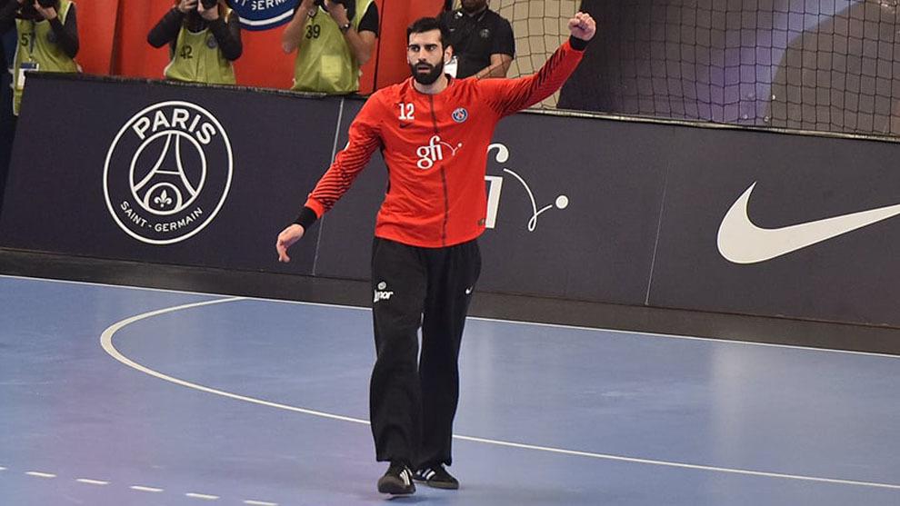 Rodrigo Corrales celebra un parada ante el Montpellier