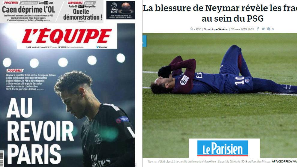 La lesión Neymar protagoniza la portada de la prensa francesa