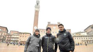 Kwiatkowski, Sagan y Van Aert, este viernes en la Piazza del Campo de...