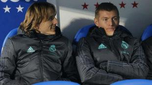 Modric y Kroos, en el banquillo en el partido ante el Leganés