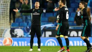 Ramos pide explicaciones tras el gol recibido ante el Espnayol.