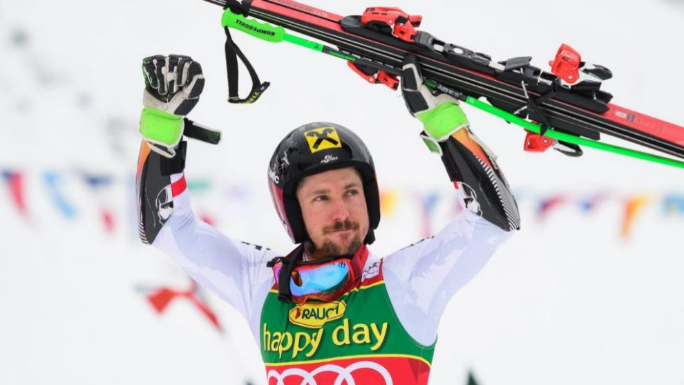 Marcel Hirscher celebra la victoria que le da el Globo de cristal del...