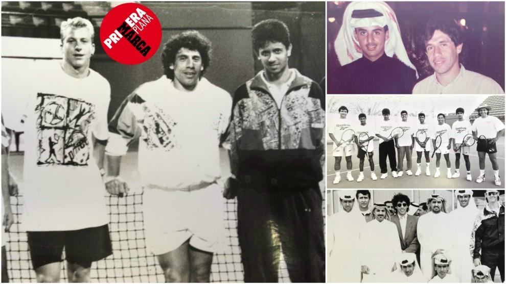 Primero por la derecha en la primera imagen, Nasser Al-Khlelaifi en su...