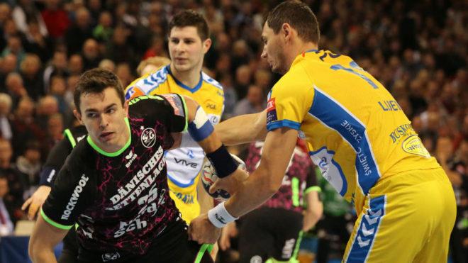 Lauge, en un partido del Flensburg-Handewitt contra el Kielce en la...