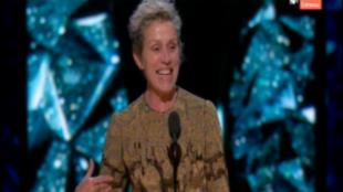 Frances McDormand durante su discurso tras recibir el Oscar a Mejor...