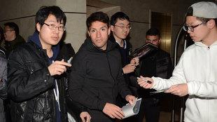 Nico Gaitán a su llegada a Shanghai tras firmar por el Dalian Yifang