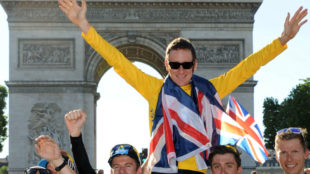 Bradley Wiggins celebra el Tour de Francia en 2012