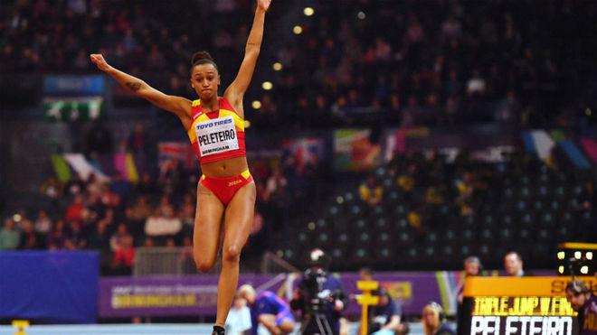 Ana Peleteiro, durante los Mundiales de pista cubierta