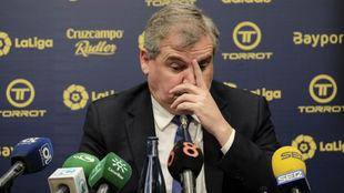 Manuel Vizcaíno, durante la rueda de prensa ofrecida por el...