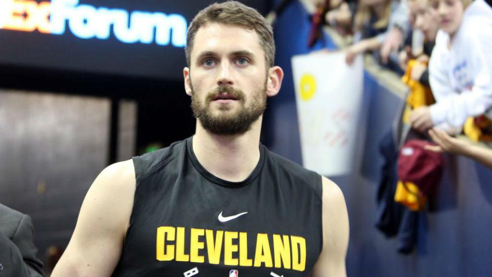 Kevin Love antes de un partido de los Cleveland Cavaliers