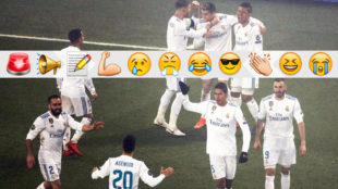 Los jugadores del Madrid festejan el gol de Ronaldo