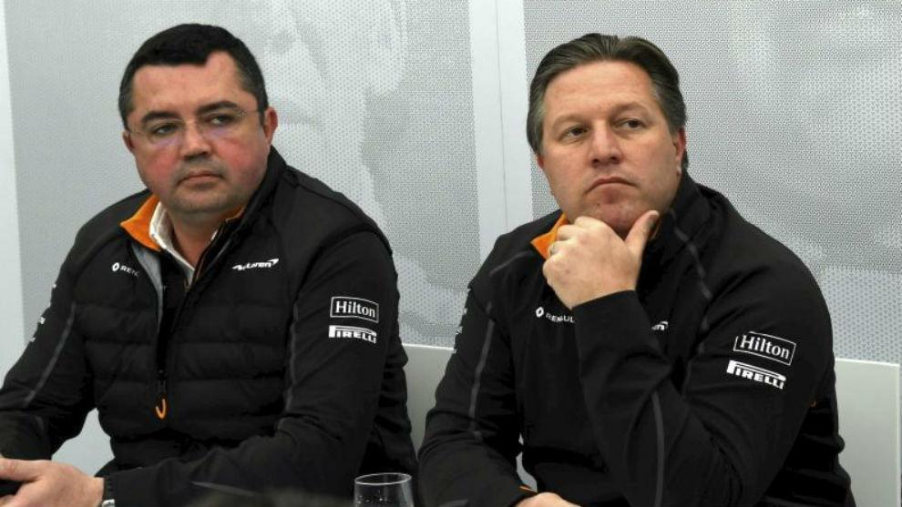 Boullier y Brown, en la comparecencia de hoy al mediodía en el...