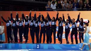 Las 'guerreras del agua' en el podio del Mundial de Budapest...