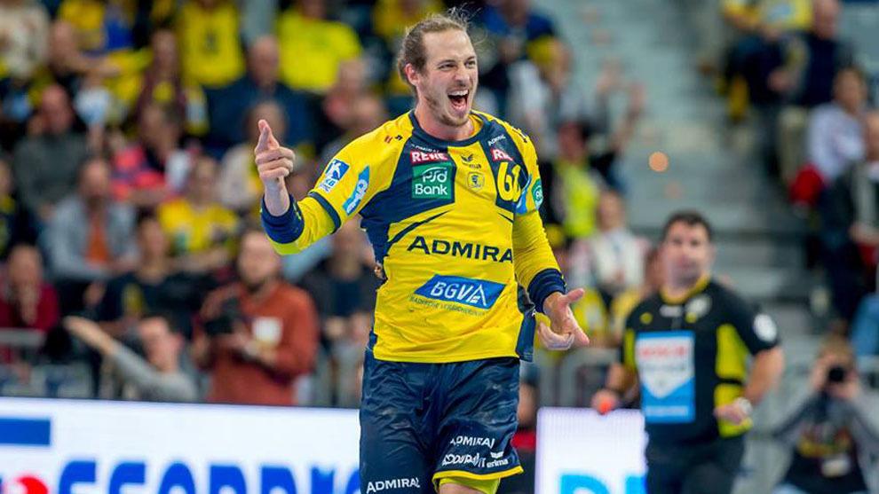 Du Rietz celebra uno de sus cuatro goles ante el Leipzig