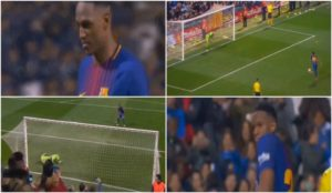 Yerry Mina busts a move after scoring a penalty in the Catalan Super Cup