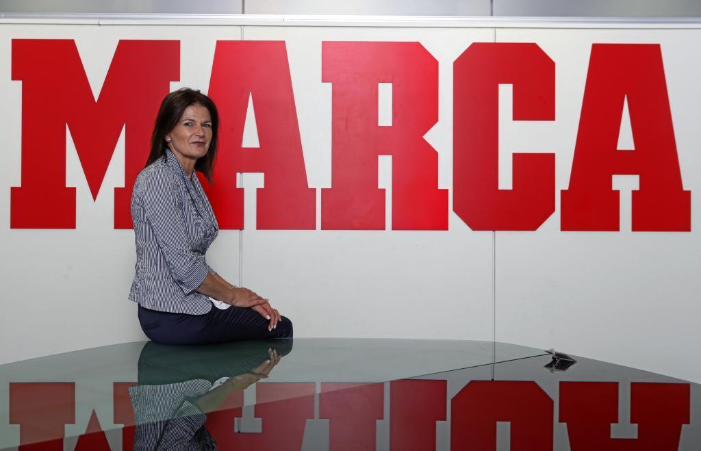 Julia Casanueva, presidenta de vela, en una visita a MARCA.