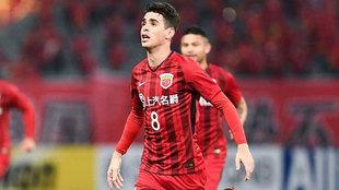 Oscar celebra uno de los goles al Ulsan Hyundai en la AFC Champions...