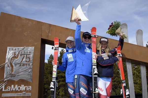 El podio del primer gigante de Copa de Europa femenina, hoy en La...