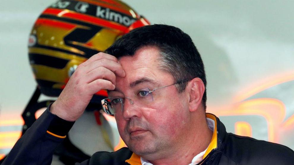 Eric Boullier, en el Circuit de Barcelona.