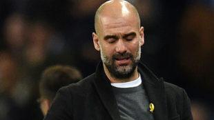 Pep Guardiola, durante un partido.