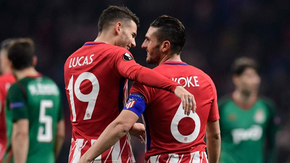 Lucas Hernández y Koke, compañeros en el Atlético de Madrid y en el...