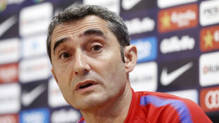 Ernesto Valverde, durante una rueda de prensa.