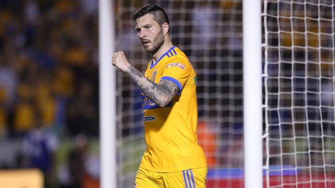 André-Pierre Gignac celebra su gol 75 con Tigres