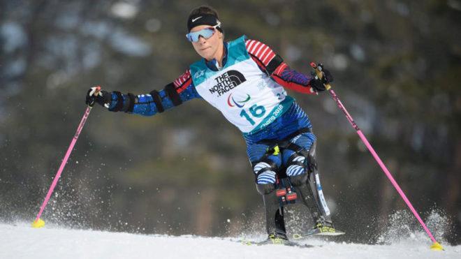 Oksana Masters, en la prueba de 6 kilómetros de biatlón