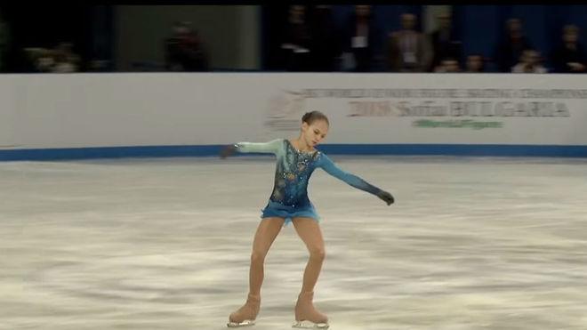 Alexandra Trusova, durante el programa libre.
