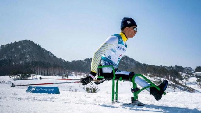 Cristian Ribera, en la prueba de 15 kilómetros de esquí de fondo