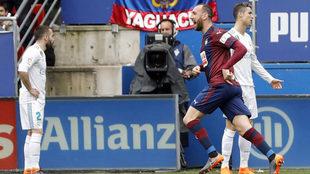 Ramis celebra su gol al Real Madrid.