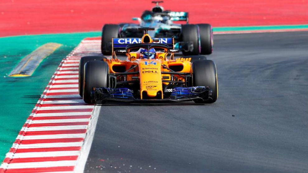 Fernando Alonso, en su último día de pruebas en Barcelona.
