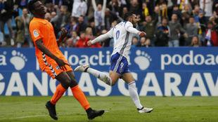 Borja Iglesias celebra su gol ante el Lorca.