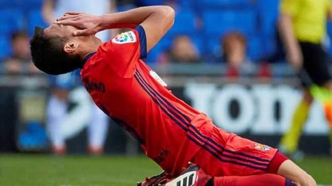 Héctor Moreno se lamenta en el partido ante el Espanyol.