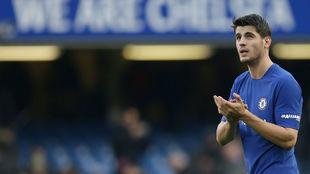 Morata, en un partido con el Chelsea