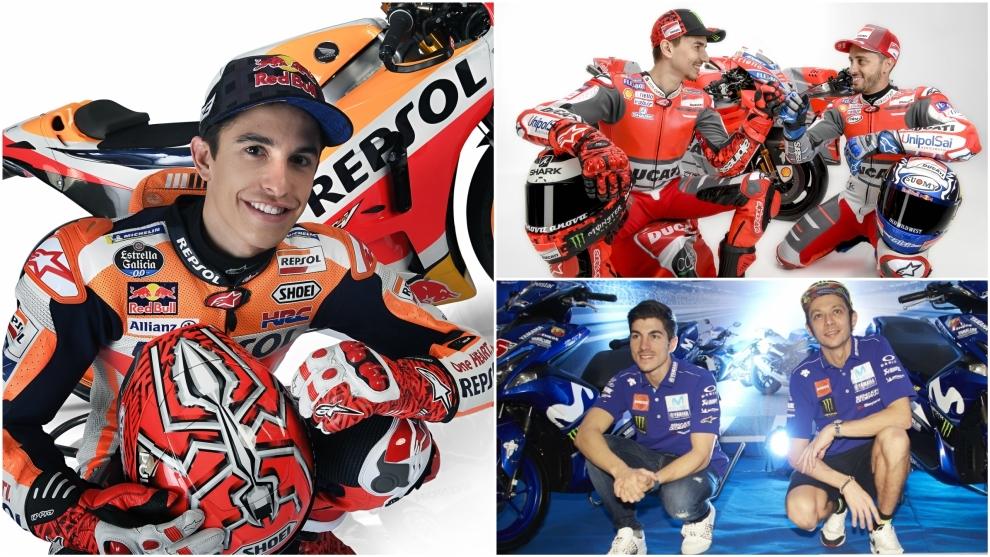 Márquez, Lorenzo, Dovizioso, Viñales y Rossi.