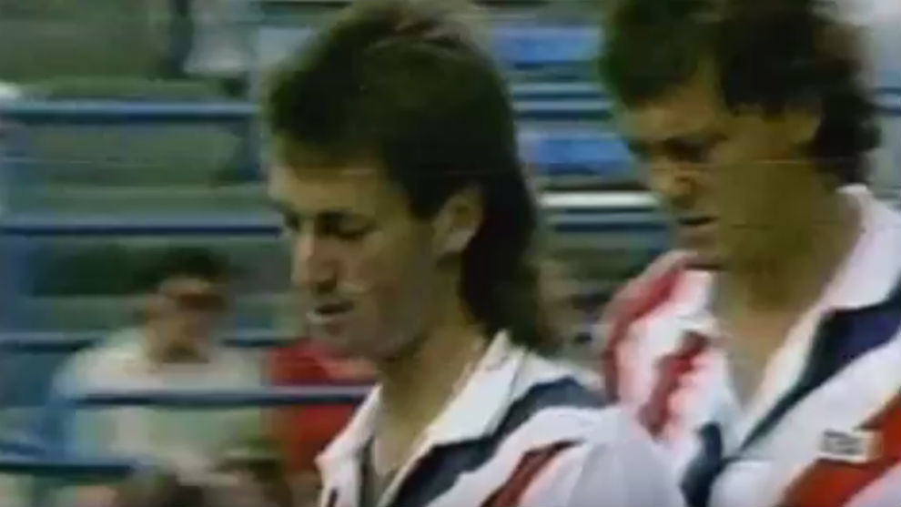 Flach, en primer término, con Seguso. 1987.