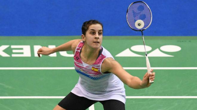 Carolina Marín durante un partido del Yonex Indian Open 2018.