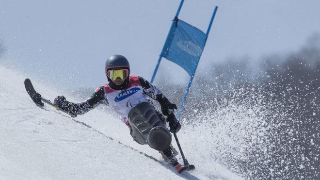 Arly Velaszquez compitiendo en el gigante de los Juegos de Pyeongchang