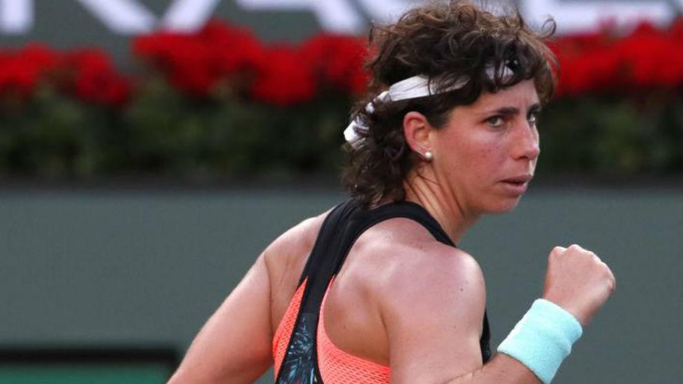 Carla Suárez, durante su partido frente a Elina Svitolina.