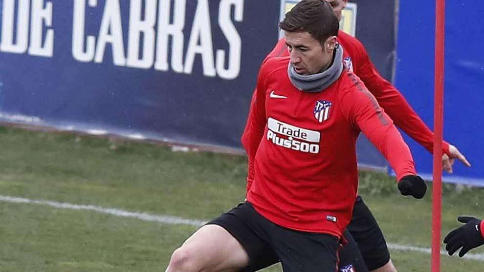 Gabi, en un entrenamiento con el Atlético.