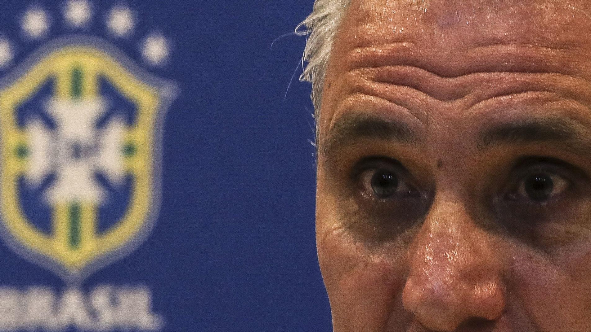 Tite durante una rueda de prensa para la Selección de Brasil