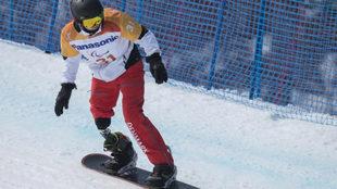 Daniel Wagner compitiendo en boardercross en los Juegos de Pyeongchang