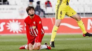 Soleri se lamenta de una ocasión fallada en el partido ante Osasuna