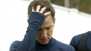 Vietto, durante un entrenamiento con el Valencia en Paterna.